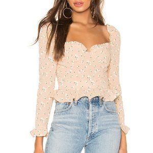 NEW MAJORELLE Corie Top in Tan Ditsy